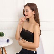 Hot Strapless Lace Bralette Crop Top Lady Lingerie Vest Padded Bra 3c Black