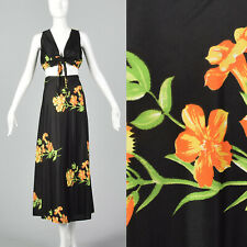 XXS 70s floral wrap skirt tie front top tropical print summer two piece 70s VTG