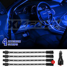 BLUE 4pcs LED CAR TRUCK ATV NEON ACCENT INTERIOR LIGHT KIT w/ BREATH STROBE MODE