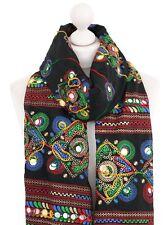 Black Embroidered Scarf Plastic Mirror Boho Ladies Summer Cotton Scarves Dupatta