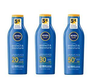 Nivea Sun Lotion Protect Moisture SPF 20 UV Filters Long Lasting Caring 200 ml