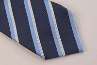 Ermenegildo Zegna NWT Neck Tie Textured Blue With Blue & White Stripe 100% Silk