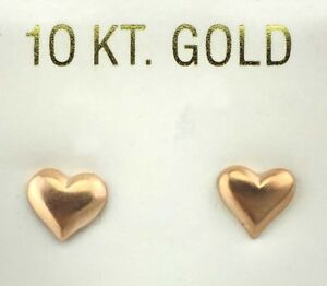 10k Solid Rose Gold HEARTS  Stud  Earrings Push Back *New With Tag*