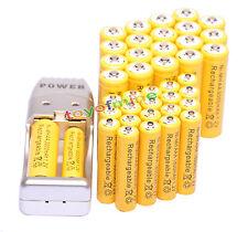 40x AA AAA 3000mAh 1800mAh Batería recargable de 1.2V amarillo + Cargador USB