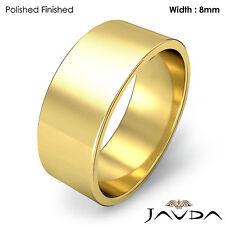 Wedding Band Women Flat Pipe Cut Plain Ring 8mm 18k Yellow Gold 8.7gm Sz 7-7.75