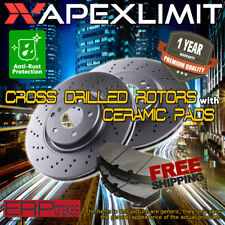Front 2 Cross Drilled Rotors & 4 Ceramic Pads for ( 2008 ) Subaru Tribeca