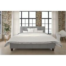 DHP Rose Linen Tufted Upholstered Platform Bed, Button Tufted Headboard and Foot