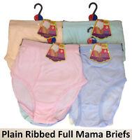 "6x Womens Ladies Plain Ribbed Full Mama Briefs Cotton Underwear Knickers 38-52"""