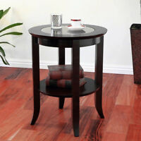 Round Accent Table Glass Top End Side Espresso Coffee Living Room Lamp Stand New