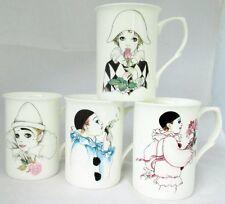 Pierrot & Harlequin Mugs Set of 4 Fine Bone China Mugs Hand Decorated in the UK