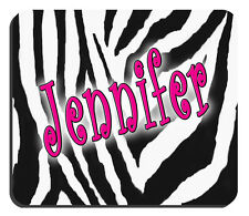 """Zebra Mouse Pad Personalize Any Text Any Color 1/4"""" Thick 7-3/4"""" x 9-1/4"""" Zebra"""