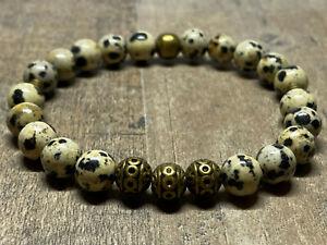 Armband Bracelet Perlenarmband 8mm goldfarbener Löwenkopf Herbst Jaspis