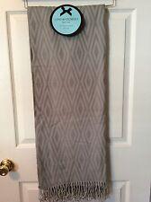 NWT Cynthia Rowley THROW BLANKET FRINGE Gray Geometric Design