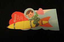 Vintage ASTRONAUT & Space Rocket Valentine Card c. 1950s