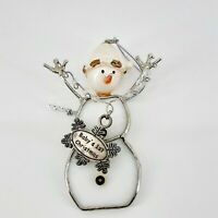 Vintage Baby's First Christmas White Stained Glass Snowman Christmas Ornament