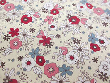 "Cream ""Daisy Springs"" Floral Printed 100% Cotton Poplin Fabric. Price Per Metre"