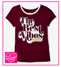 *NEW* JUSTICE GIRLS 10 12 14 16/18 THE BEST VIBES SPARKLY RETRO RINGER TOP TEE