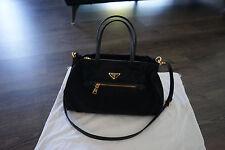Authentic Prada B1843M Tessuto Nylon & Saffiano Leather Trim Top Zip Bag- Black