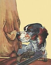 Antique Repro Bird Hunt Photo Print English Setter Vest Double Barrel Shotgun