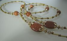 Spectacle Glasses Eyewear Beaded Chain Holder - Rosy Goldstone