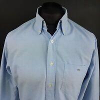 Lacoste Mens Oxford Shirt 40 (MEDIUM) Long Sleeve Blue Regular Fit  Cotton
