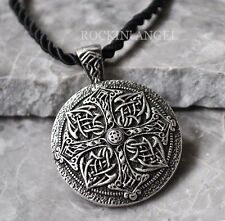 Antique Silver Plt Celtic Knot Cross Mandala Pendant Necklace / Buddhism Gift
