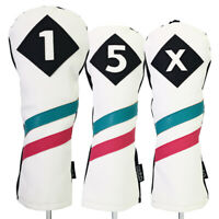 Majek Golf 1 5 X Driver Woods Headcover White w/ Teal Pink Stripe Leather Style