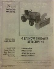 """Sears FF 18 20 24 Garden Tractor 48"""" Snow Thrower & PTO Owner & Parts (3 Manuals"""