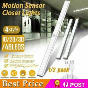 Wireless LED Closet Light PIR Motion Sensor USB Rechargeable Strip Cabinet Lamp