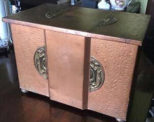 "art nouveau fireplace Log Box. Brass And Other Metal. 12.5"" X 17.75"" X 11"""