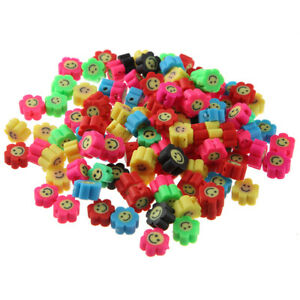 100Pcs/lot Polymer Clay Beads Smile Face Sun Flower for DIY Jewellery Making