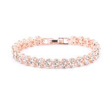 Ladies Sparking Multi-white Gemstone Inlaid 18k Gold Filled Bracelet Chain Gifts