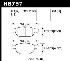 Hawk Disc Front Brake Pad for 11-16 Audi A8 Quattro # HB757B.758