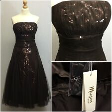 Monsoon Ladies Brown Sequin Strapless 50s Retro Evening Prom Dress UK 14 BNWT