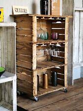 Carrello country in legno di recupero  con  portabicchieri