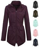 New Womens Ladies Plus Size Hooded Mac Lightweight Showerproof Rain Coat Jacket
