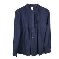 GAP Womens Popover Swiss Dot Tunic Size Small Blue Long Sleeve Pleated Shirt Top