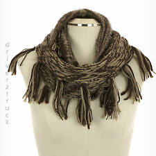 MADDEN GIRL Women's TAUPE & BROWN INFINITY SCARF with FRINGE Winter PRINT LOOP
