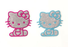 HELLO KITTY SILVER PINK & BABY BLUE IRON ON EMBROIDERY APPLIQUE PATCH USA - 2PCS