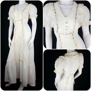Vintage 70s Ivory Cotton Prairie Dress Cottagecore Lace Size S/8 Bohemian