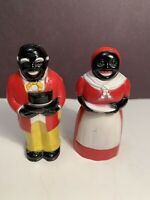 Vintage Black Americana Collectible Plastic Salt and Pepper Shakers F&F