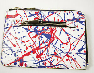 Marc Jacobs Leather Splatter Paint Medium Pouch in White Multi