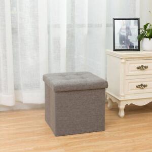 Large Grey Linen Folding Storage Ottoman Pouffe Seat Foot Stool Toy Storage Box