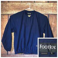 FJ Foot Joy Golf Windbreaker V Neck Pullover Navy Blue Long Sleeve Mens Large