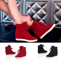 Womens Ladies Mid Heel Wedge High Top Ankle Trainers Lace Up Sneakers Boots Size