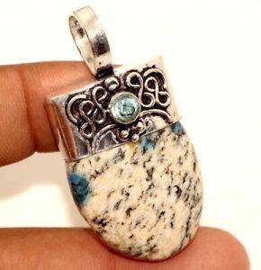 "K2 Blue Azurite Blue Topaz 925 Sterling Silver Plated Pendant 1.9"" Jewelry GW"