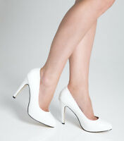 Ladies Womens High Heel Court Shoe / Office / Formal Shoes - White - UK Size 6