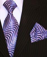 Binder de Luxe Krawatte Einstecktuch Krawatten Set blau lila Wellen Muster 273