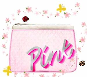 VICTORIA'S SECRET PINK COSMETIC BAG BUBBLE PINK CLEAR CASE MAKEUP PINK WHITE NEW