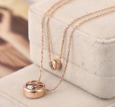 Michael Kors Double Row Crystal Logo Rose Gold Tone Pendant Necklace